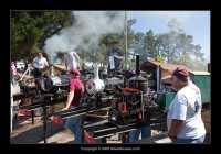Steam in the garden!  Tom Osterdock in the foreground with his Bill Connor beam engine.