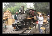 A Roll Models Sweet Creek is moved onto the turntable by Joel from Tehachapi.